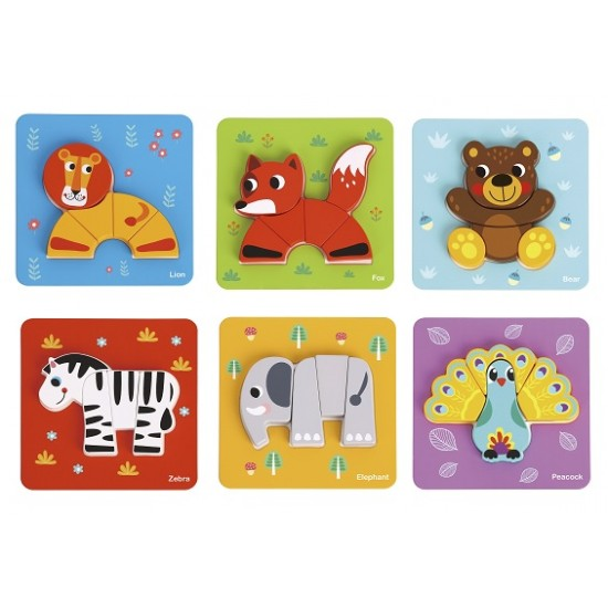 Wooden, puzzle, animals 6 in 1