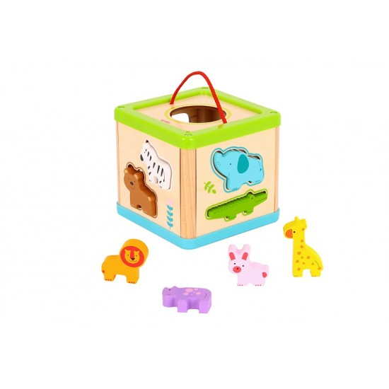 Wooden cube, wedges, animals