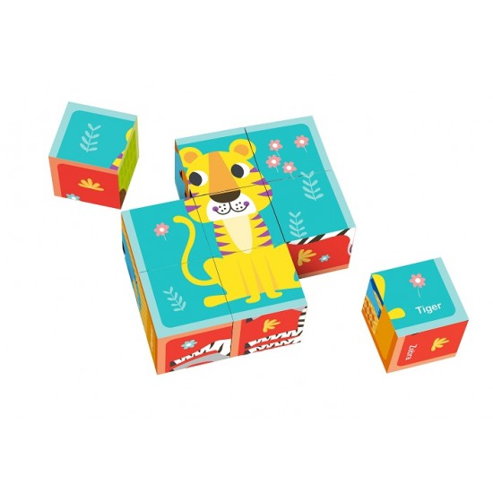 Wooden cubes, puzzles, animals